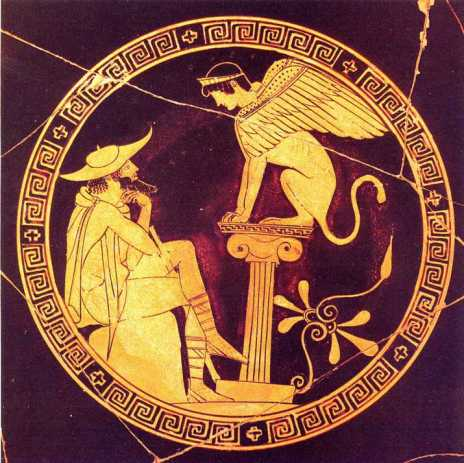 Oedipus and the Sphinx on a greek case