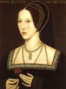 Anne Boleyn holds a rose, oil painting.