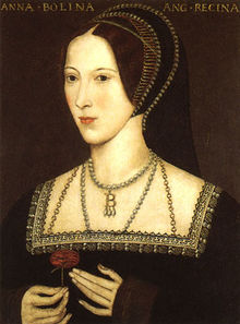 Anne Boleyn holds a rose, oil painting.