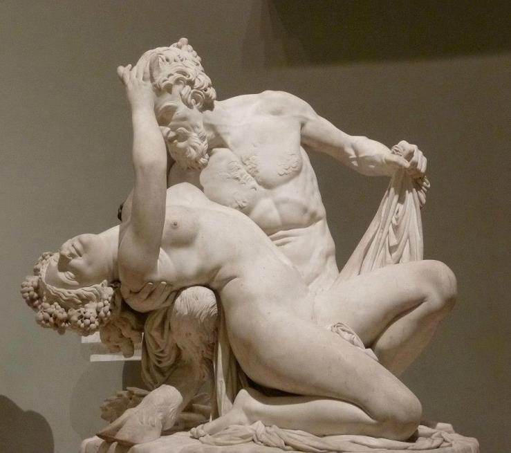 Sculpture of a satyr and bacchante
