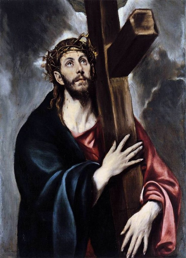 oil painting Christ carrying cross