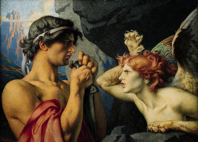 Sphinx striking Oedipus