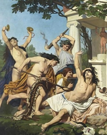 Painting og Maenads attacking Orpheus
