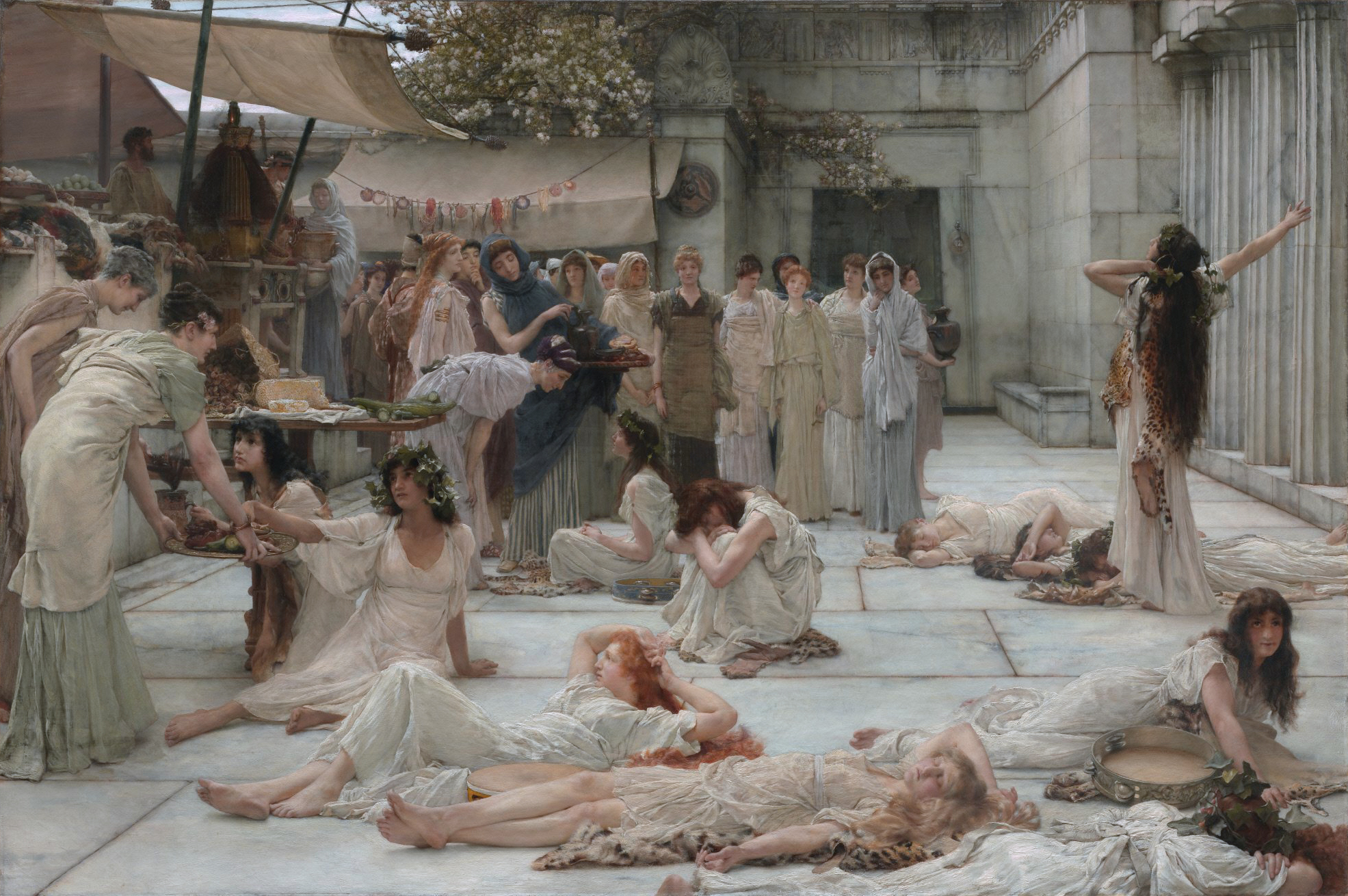 Women lying down in square painting