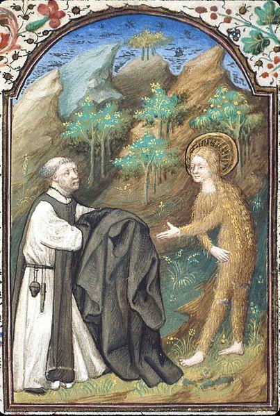 Zosimas hands Mary his cloak