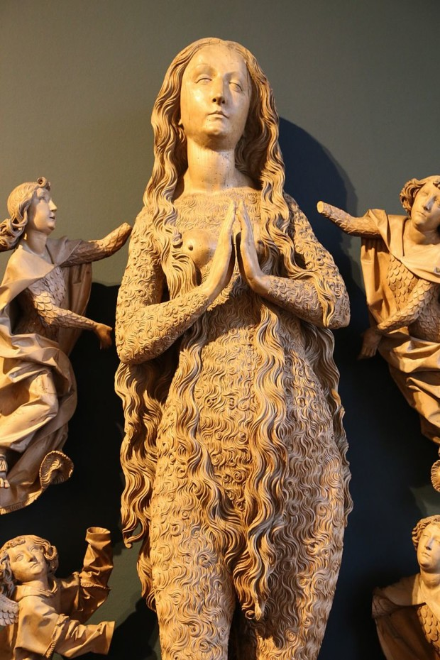wood sculpture of hairy mary