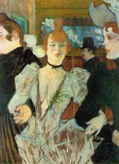 La Goulue Arriving at the Moulin Rouge with Two Women, Toulouse-Lautrec, 1892