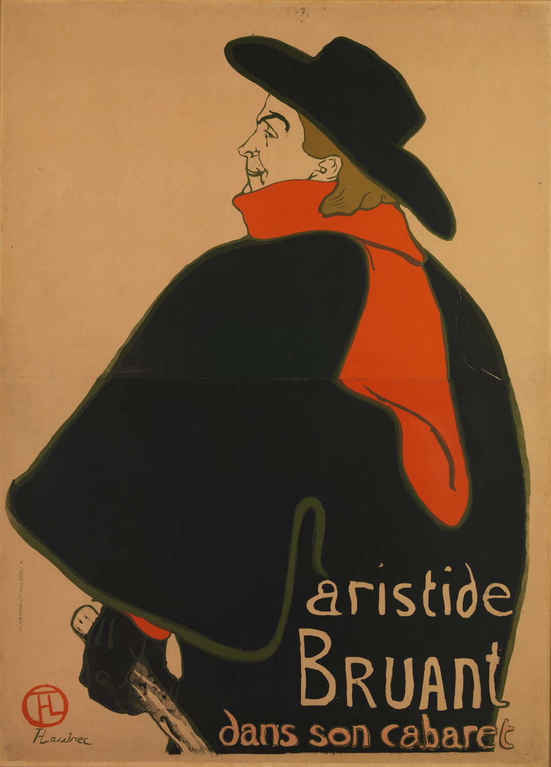 Aristide Bruant in his Cabaret, Toulouse-Lautrec, 1893