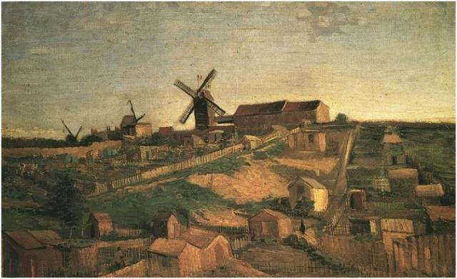 View of Montmartre with Windmills, Vincent van Gogh, 1886