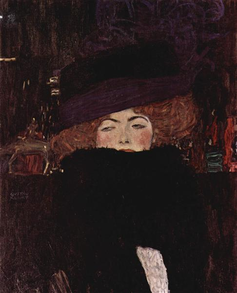 Lady with Hat and Feather boa, Gustav Klimt