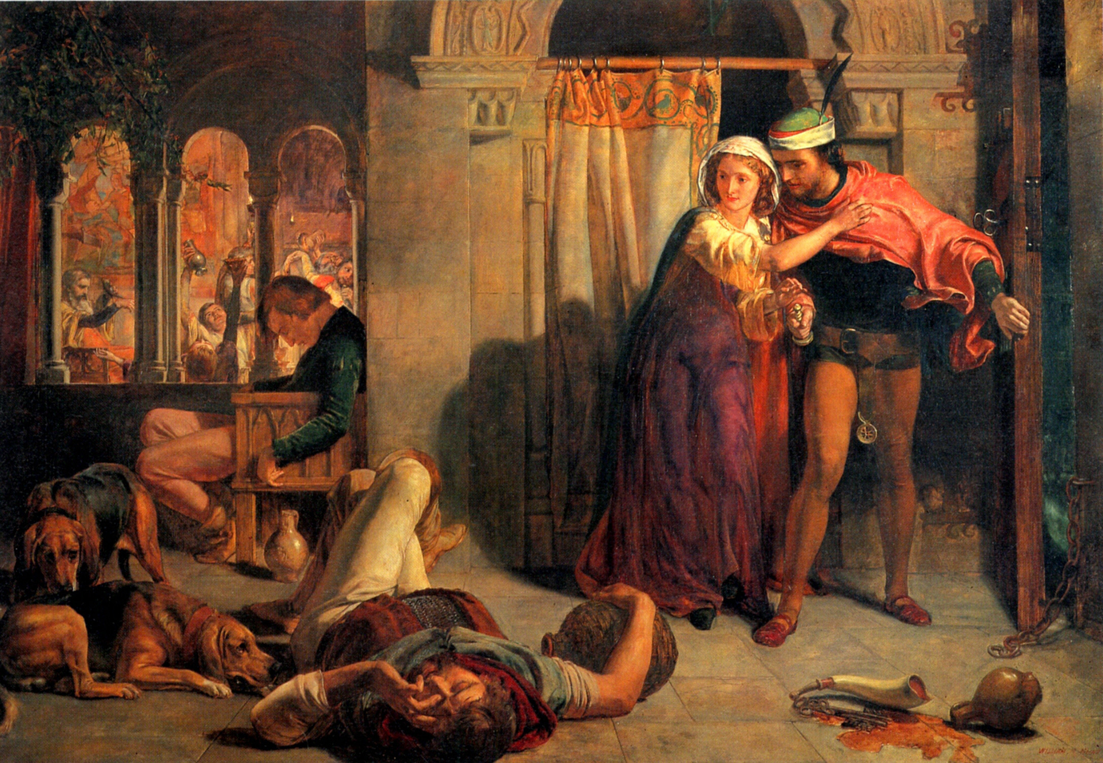The flight of Madeline and Porphyro, William Holman Hunt, 1848