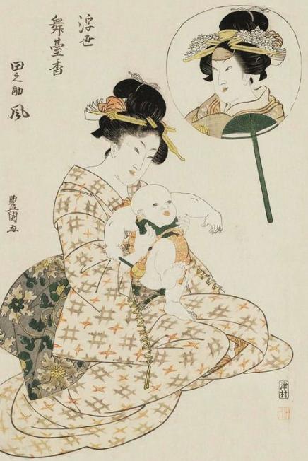 Woman Holding a Baby, Kitagawa Utamaro