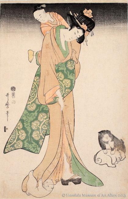 Mother and Child with Puppies, Kitagawa Utamaro
